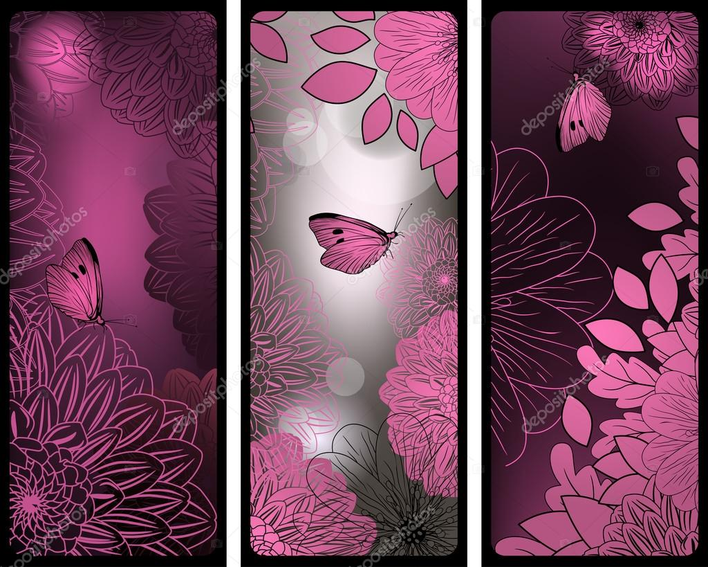 Set of pink and silver vertical banners