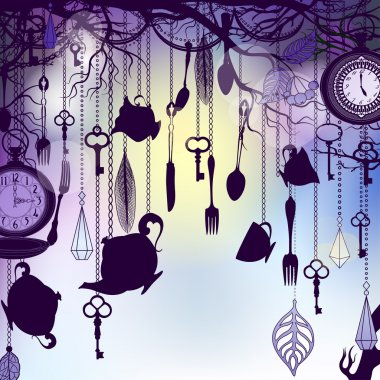 Vintage background with tea cups and clocks in dusk