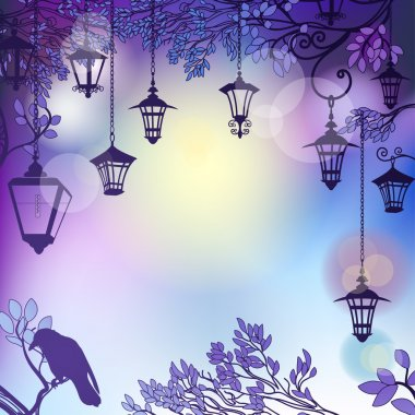 Morning background with tree branches and retro street lamps