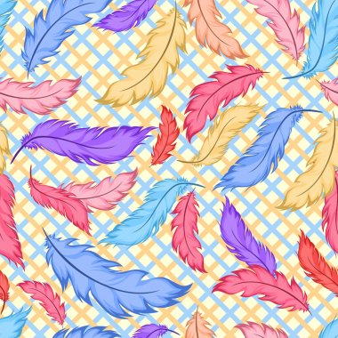 Seamless pattern with colorful feathers on plaid