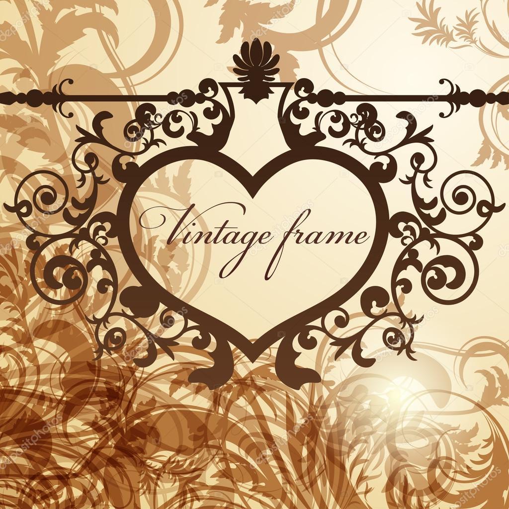 Fondo de vendimia San Valentín con corazón forjado marco — Archivo ...