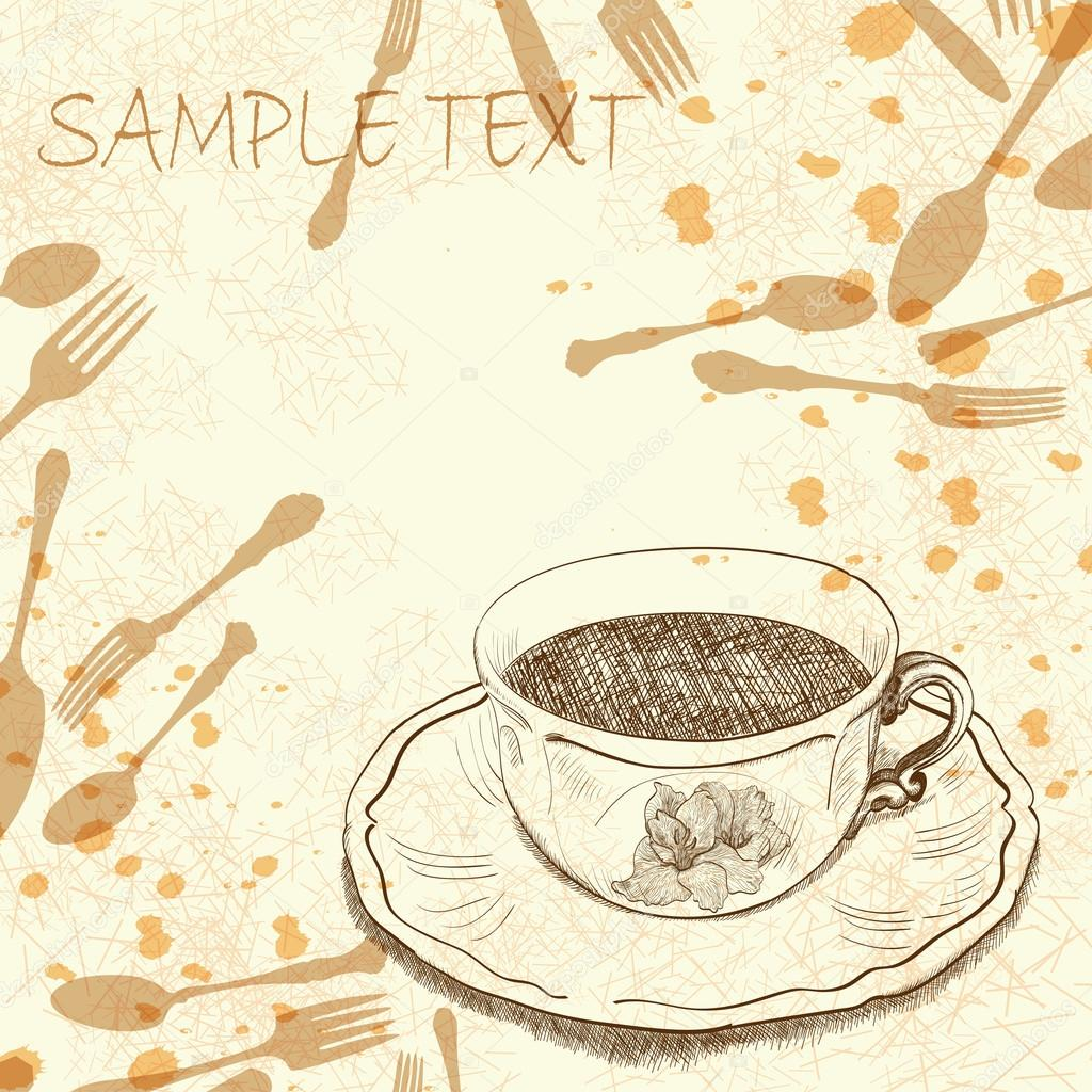 Handwritten background with a tea cup