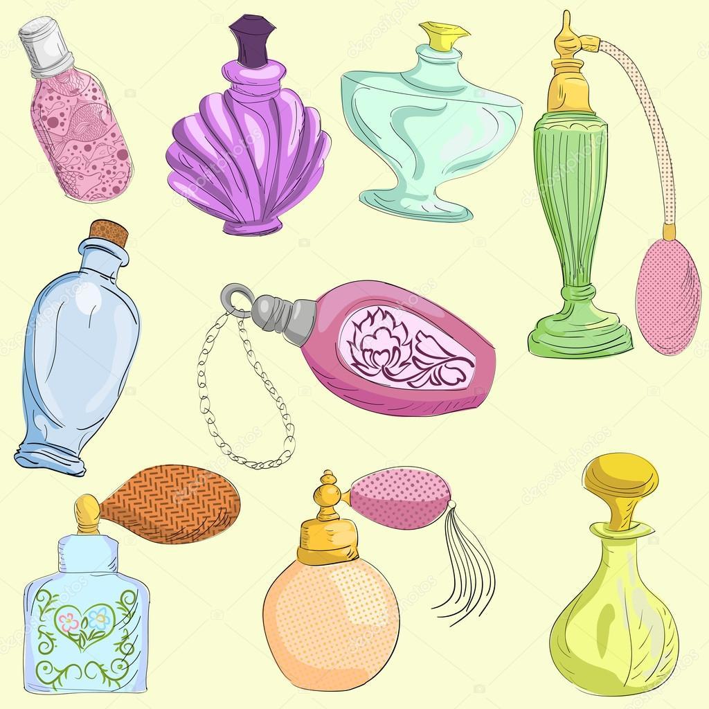 Set of doodle retro perfume bottles