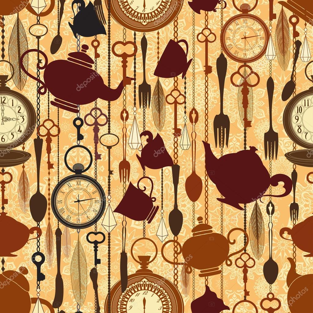 vintage seamless tea time pattern stock vector 0mela 20235869. Black Bedroom Furniture Sets. Home Design Ideas