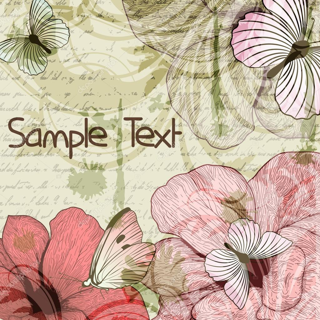 Grungy retro background with flowers and butterflies