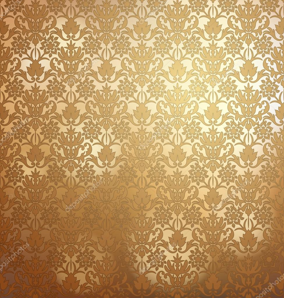 Golden Design Wallpaper : Vintage golden wallpaper with damask pattern seamlessly