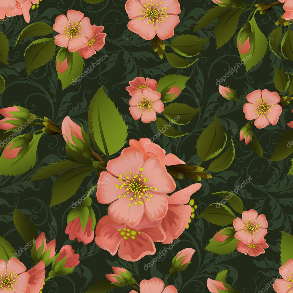 Vintage floral seamless vector pattern with beautiful flowers