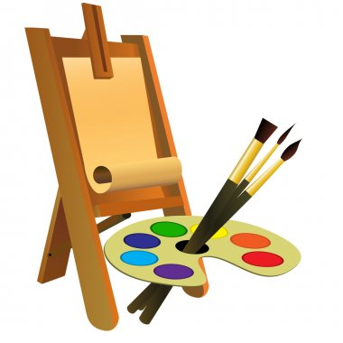 Easel, palette and brushes