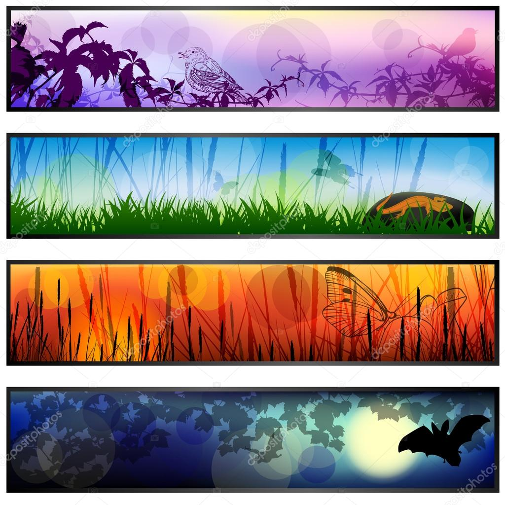 Four vector banners with parts of the day illustrations