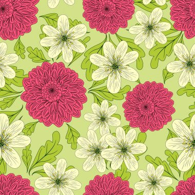 Summer seamless pattern with daisy and dahlia flowers