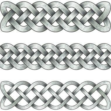 Set of silver celtic braids