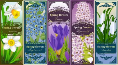 Five retro bookmarks with spring flowers