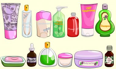 Collection of bath cosmetics