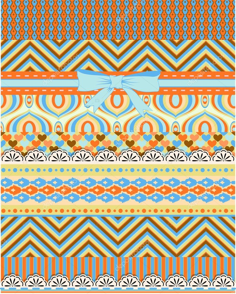 Set of patterns and stripes for scrapbooking