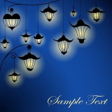 Night background with lanterns