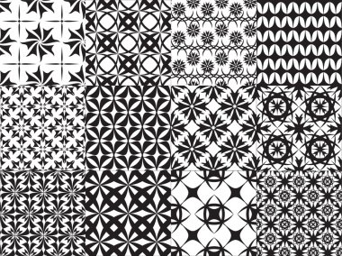 Set of twelve vector geometric seamless patterns