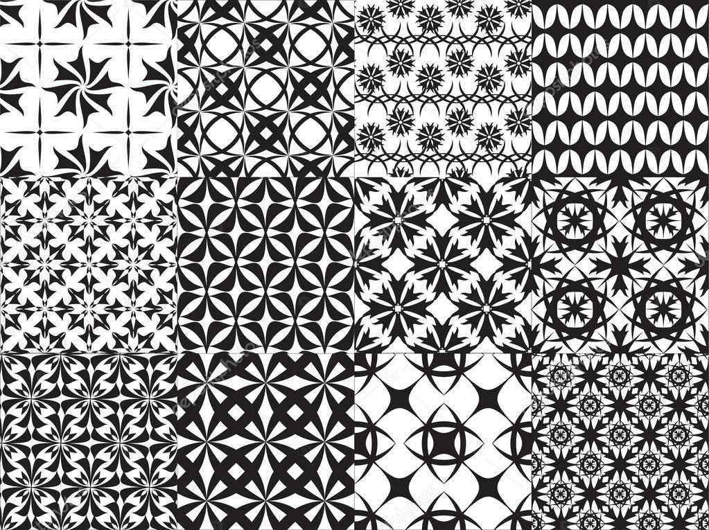 Set of twelve vector geometric seamless patterns