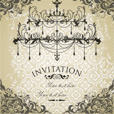 Vintage invitation on grungy paper for design