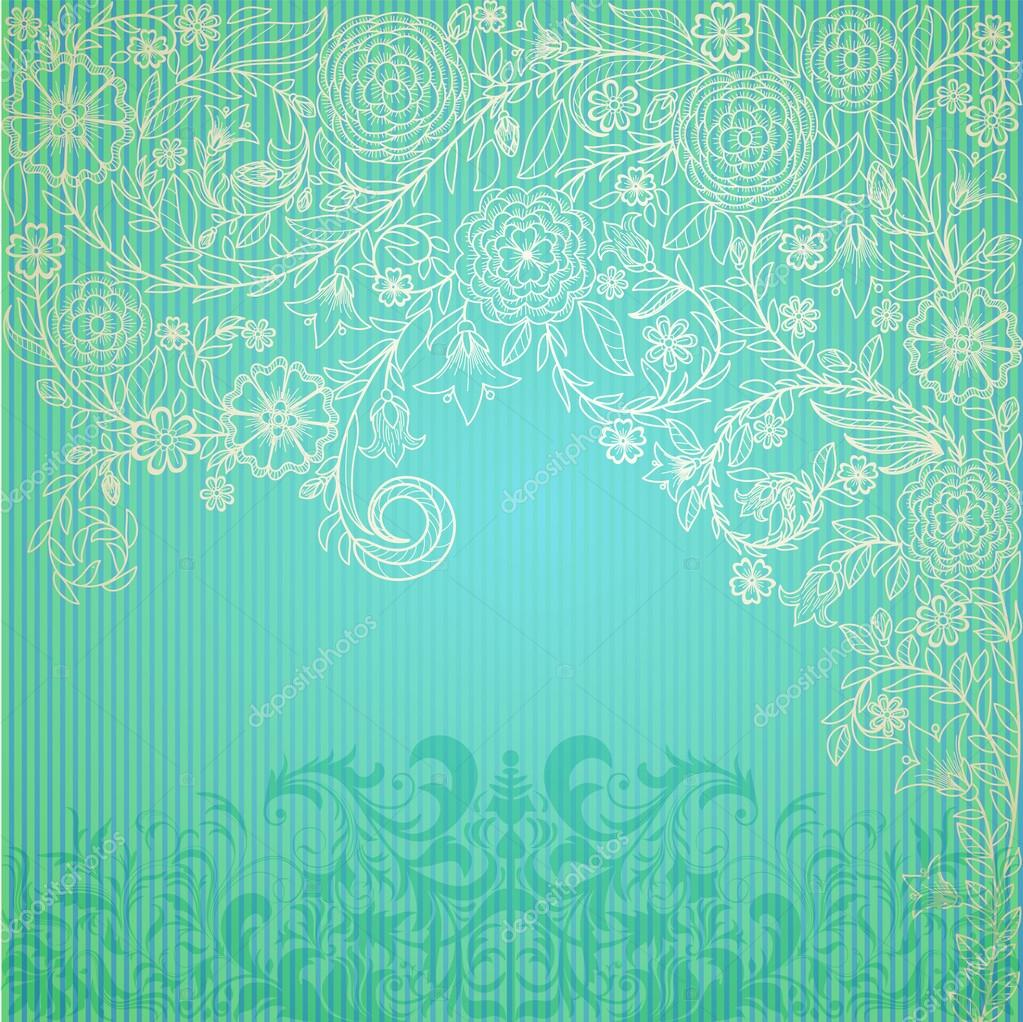 Vintage blue background with doodle flowers