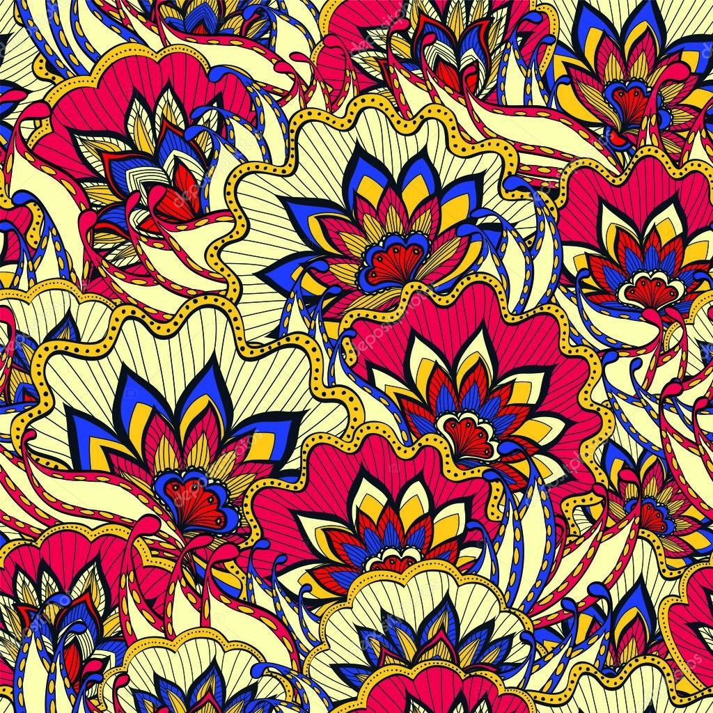 Spring pattern with colorful handdrawn flowers