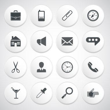 Set of white round buttons with pictograms