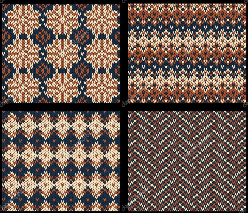 set von vier gestrickte farbfelder mit fair isle muster stockvektor - Fair Isle Muster