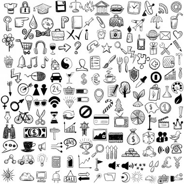 Set of sketch icons for site or mobile application stock vector