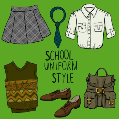 School uniform vector set
