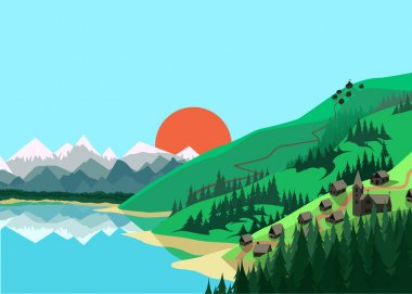 Mountain landscape in flat colors stock vector
