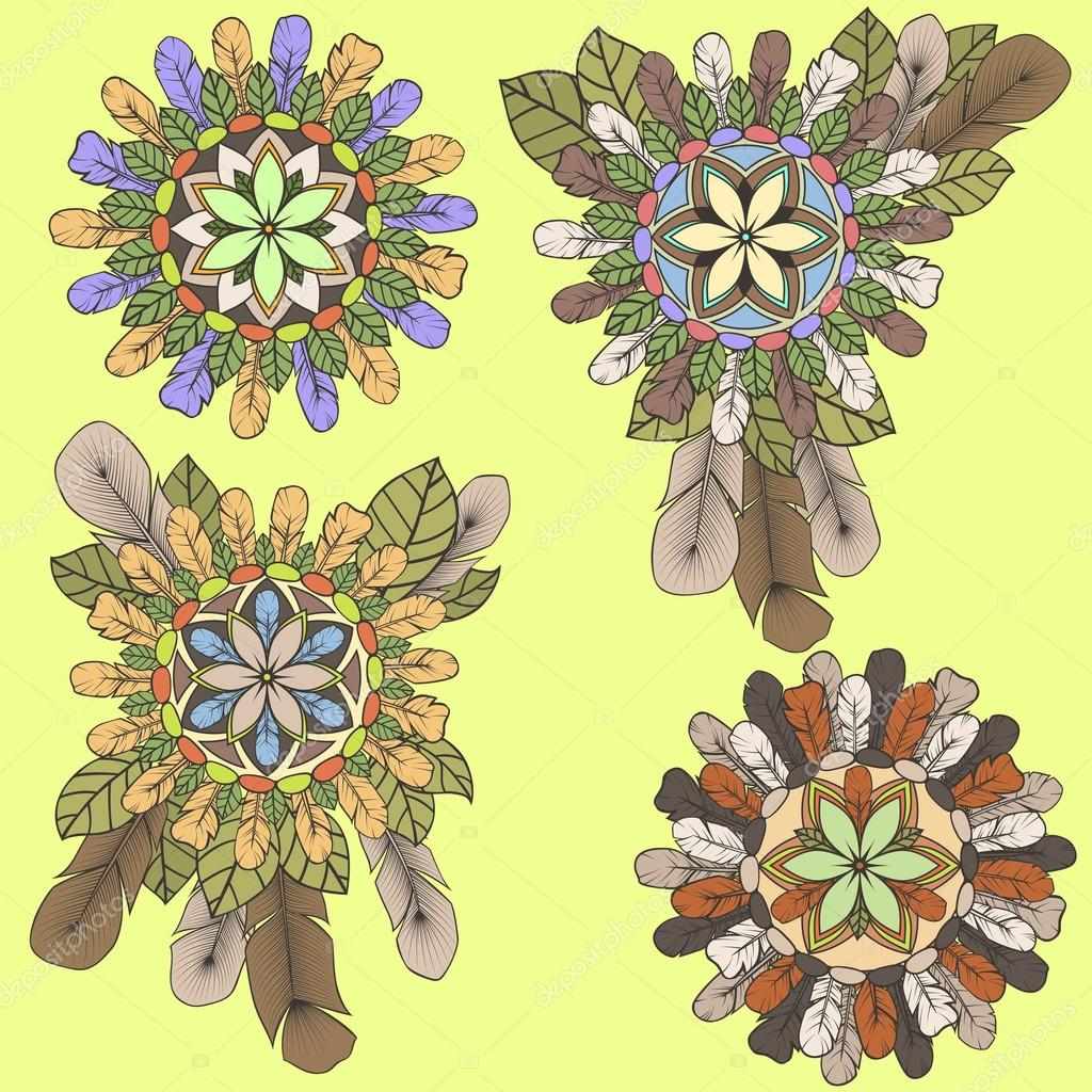 Collection of mandalas of feathers and leaves in boho style