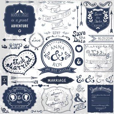 Retro hand drawn elements for wedding invitations