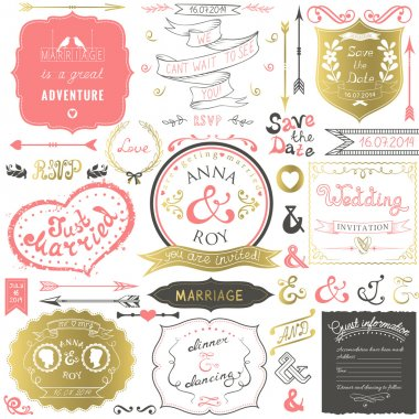 Retro hand drawn elements for wedding invitations, greetings, guest information in delicate colors. Vector illustration.