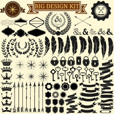 Big vintage design kit. Collection of 100 vector calligraphic icons for retro design, vintage frames, feathers, wreathes, keys, locks, stars, banners. Vector illustration. stock vector