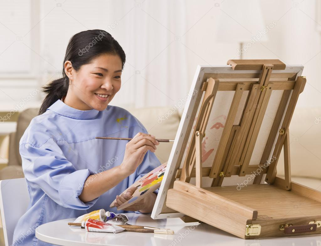 Asian woman painting stock photo spaces 18781893 for Javascript table insertcell th