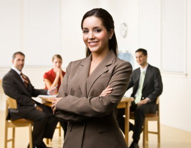 Businesswoman smiling stock vector
