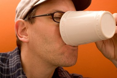 One Man Drinking Coffee
