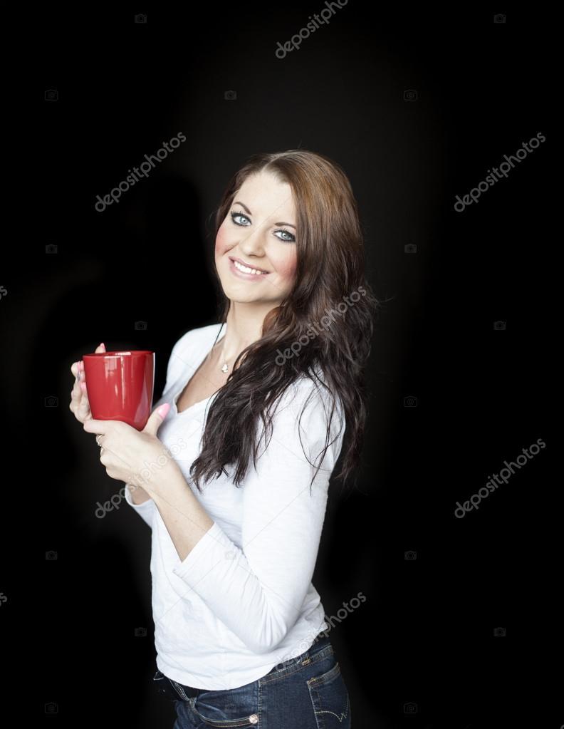 Junge Frau Mit Schonen Blauen Augen Kaffee Trinken Stockfoto