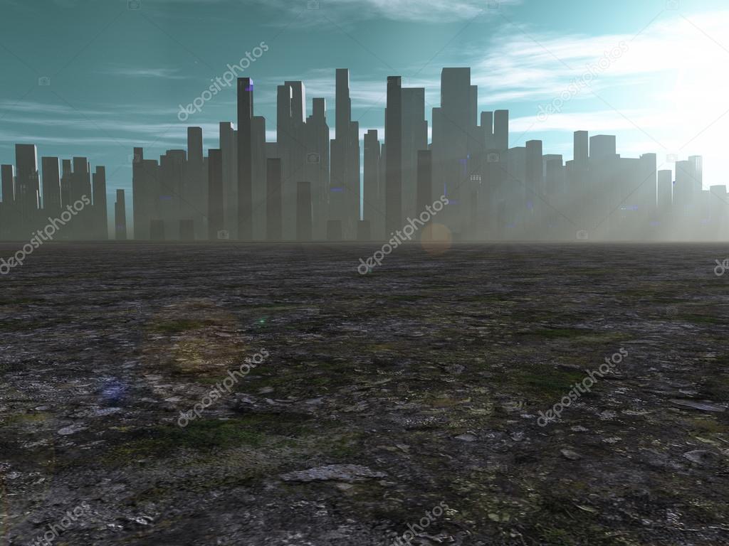 Обои темное небо, разрушенный город, небоскребы. Города foto 10