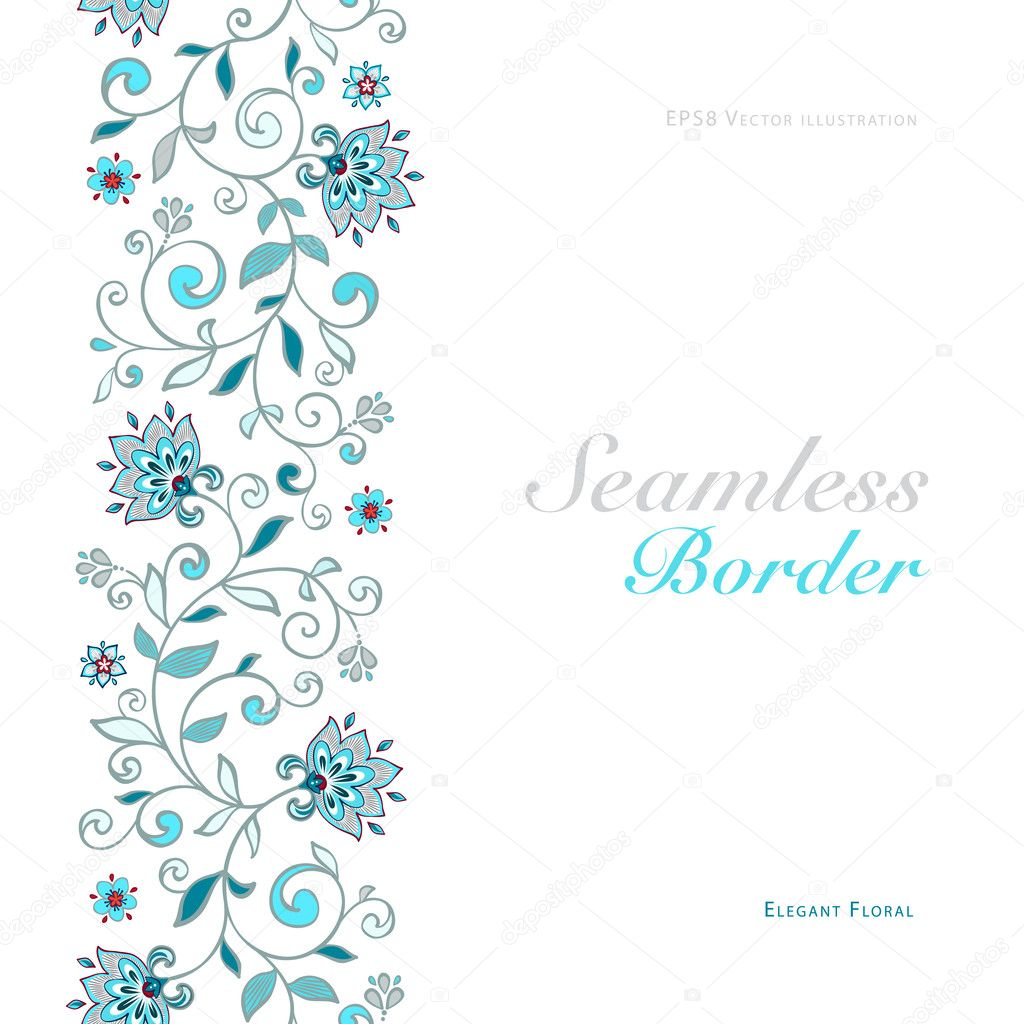 Card with seamless floral border.