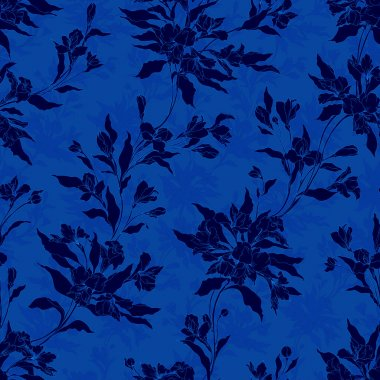 Blue stylish vintage floral pattern.