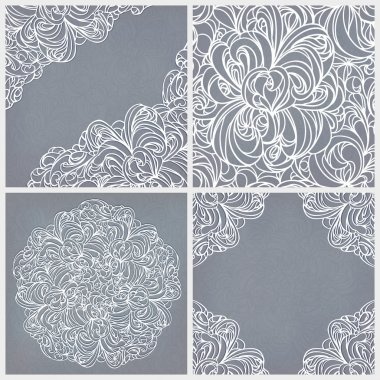 Seamless lace pattern, round and corner decor.