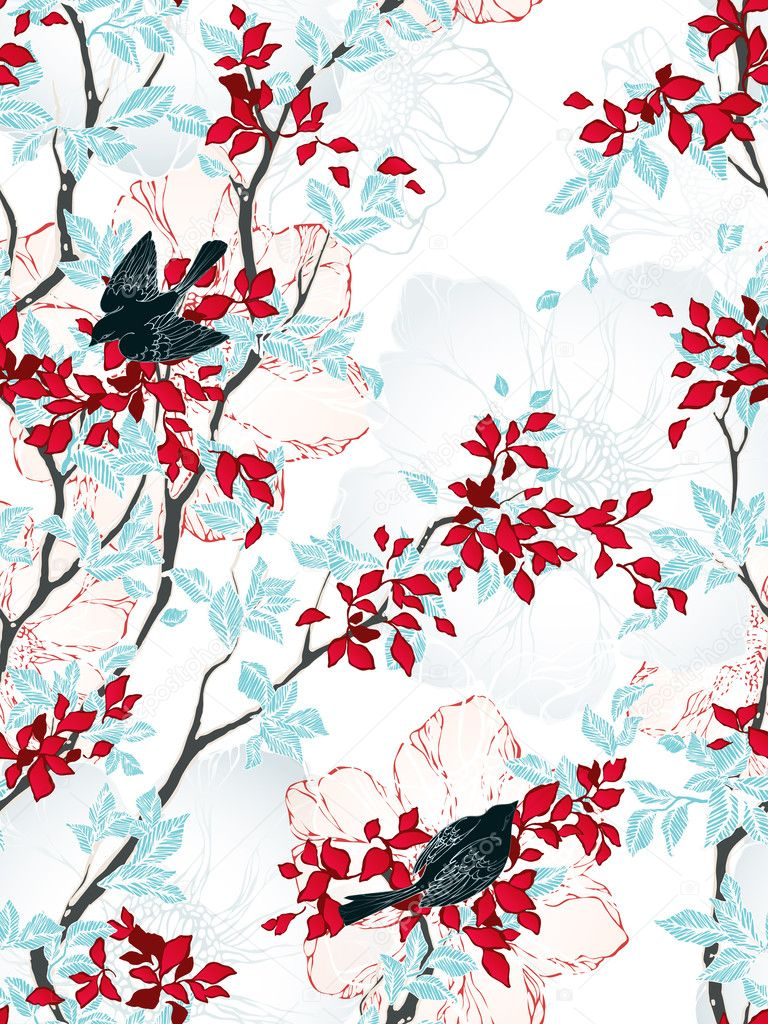 Seamless pattern with trees, flowers and birds. Vintage wallpaper. Vector illustration. stock vector