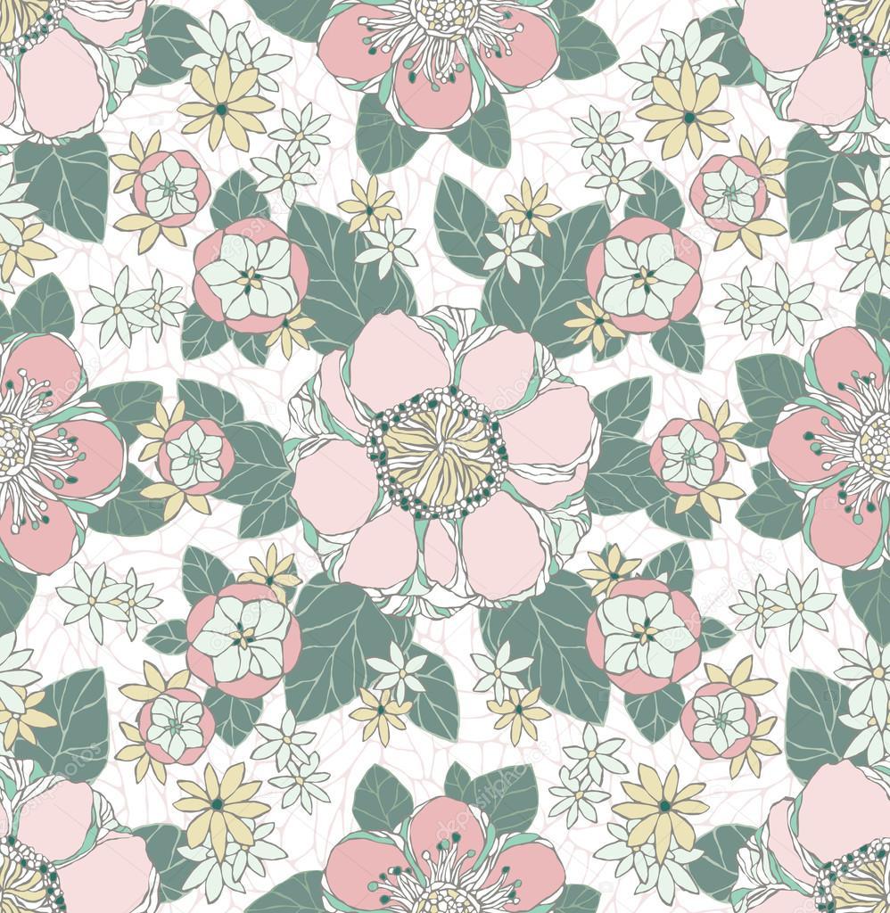 patrones sin fisuras con flores decorativas — Archivo Imágenes ...