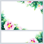 Watercolor background with peony.