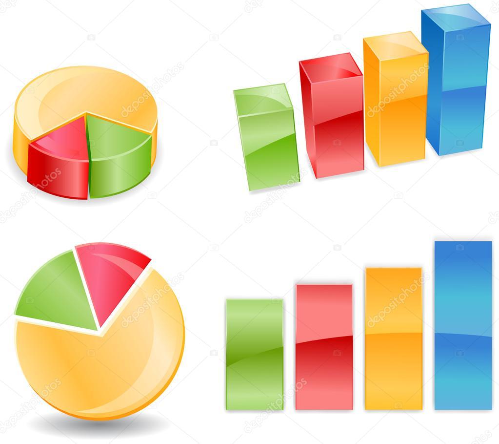 bar pie chart in 2d and 3d — stock photo © webstocker #23407820