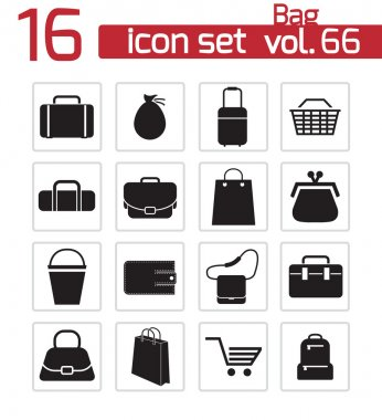 Vector black bag icons set