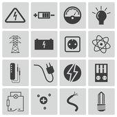 Fotografie vektorové černé elektřiny ikony nastavit