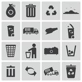 Fotografia set di icone vettoriali nero immondizia