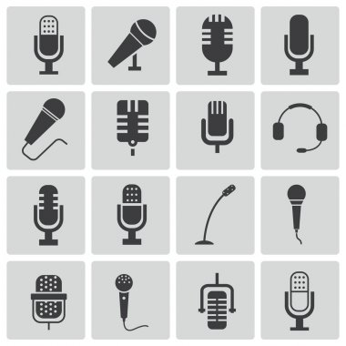Vector black microphone icons set