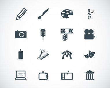 Vector black art icons set stock vector